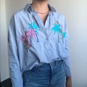 TOPSHOP petite shirt with giraffe embroidery